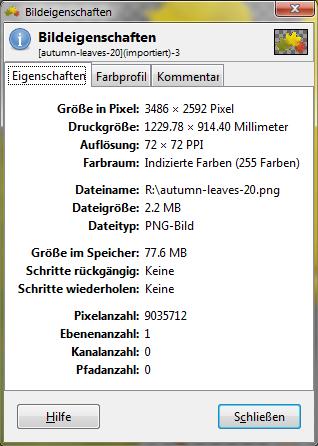 Klicke auf die Grafik für eine größere Ansicht  Name:Screenshot_Gimp-BildInfo.png Hits:539 Größe:35,1 KB ID:81611